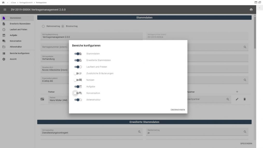 Individuelle Konfiguration der Benutzer-Oberflächen