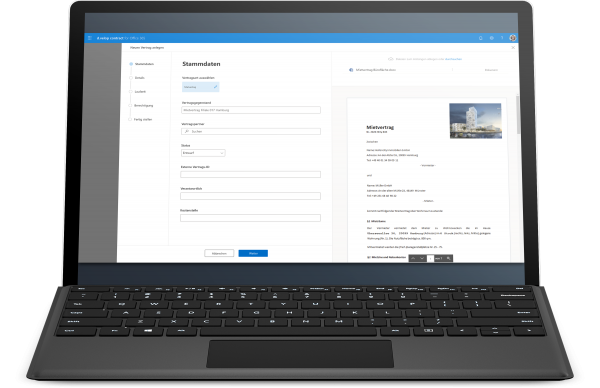 Stammdaten Pflege in d.velop contract for Office 365