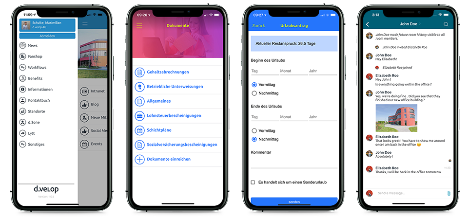 d.velop Unternehmens-App mit verschiedenen Funktionen (v.l.n.r: Menü-Übersicht, Dokumente, Urlaubsantrag, Chat-Funktion)