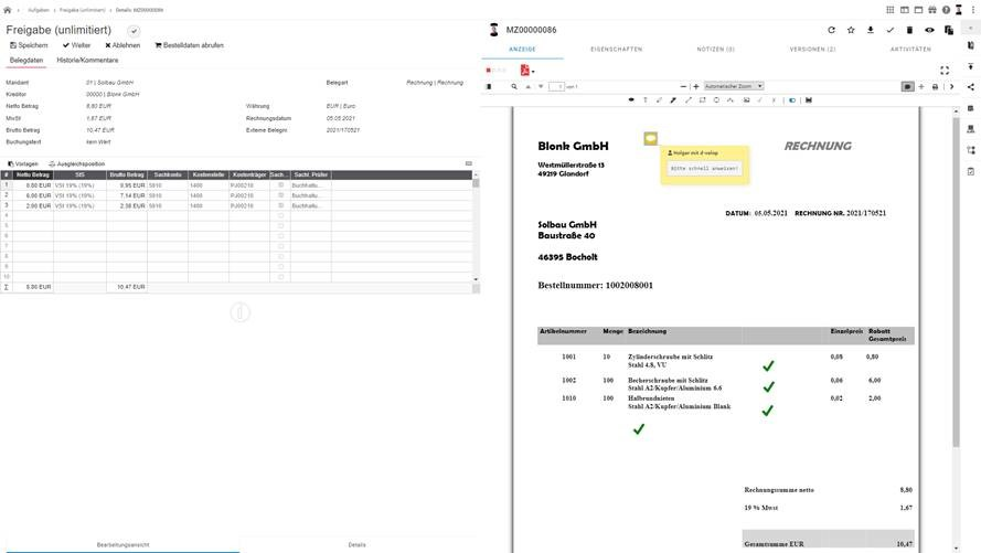 Automatische Kontierung von Rechnungen