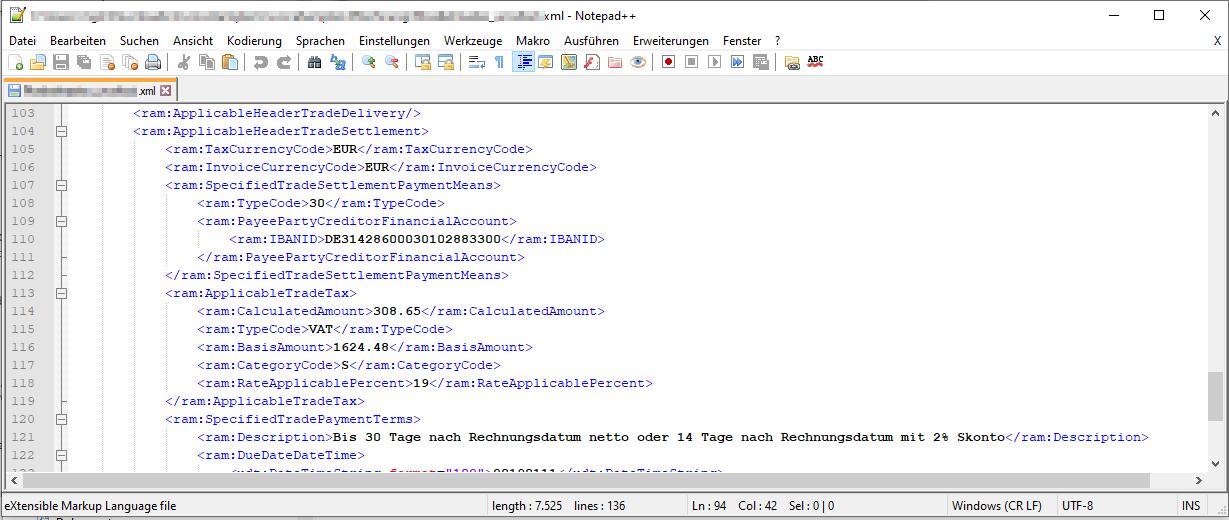 XML Format einer XRechnung