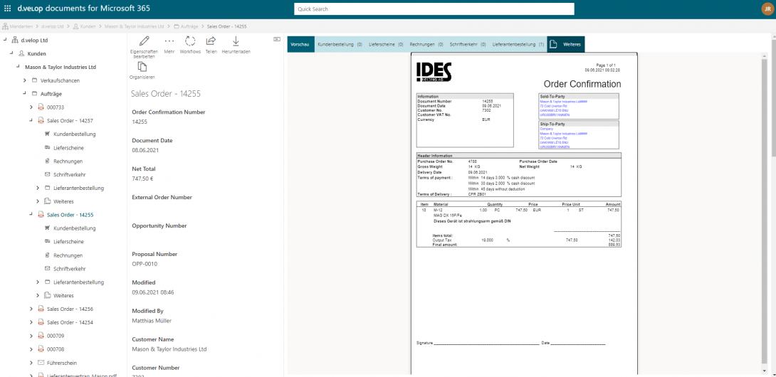 Screenshot Dokumentenmanagement