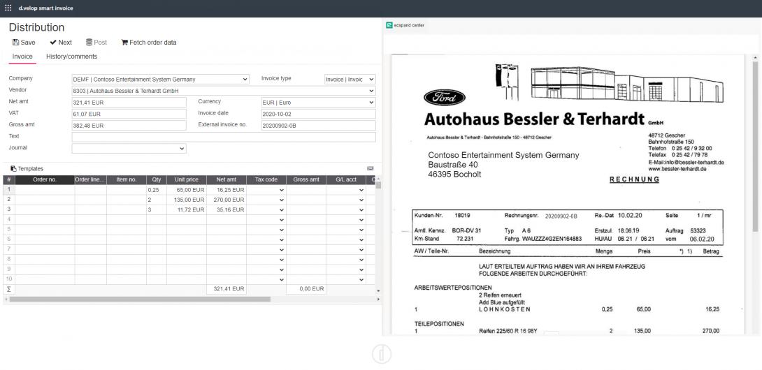 Screenshot Eingangsrechnungsverarbeitung