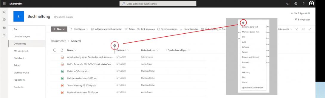 Screenshot Sharepoint Metadaten Erstellung von Spalten