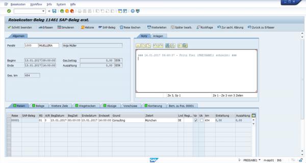 Reisekostenbeleg SAP HCM