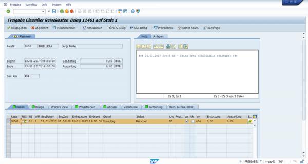 Reisekostenworkflow SAP