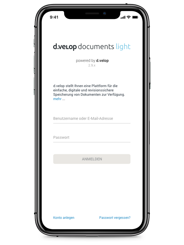 d.velop documents light in der mobilen Ansicht