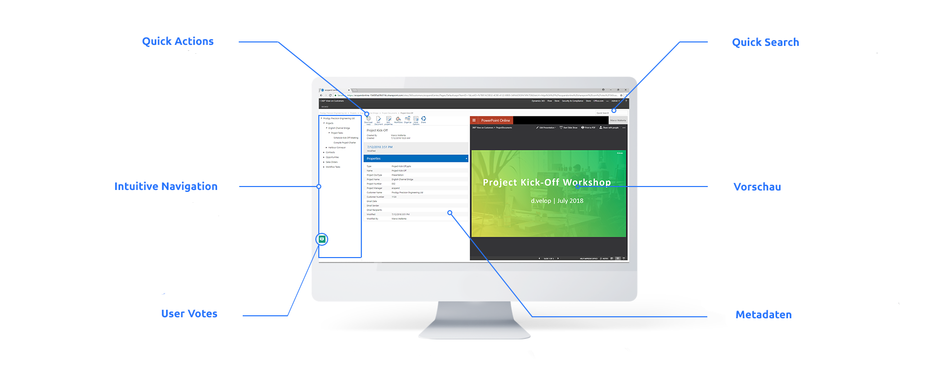 Funktionen des d.velop SharePoint Dokumentenmanagement für Microsoft 365