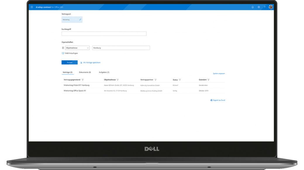d.velop contract for Microsoft 365 Stammdaten Übersicht