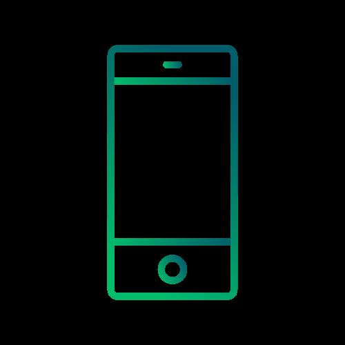 Icon Smartphone in rotem Farbverlauf