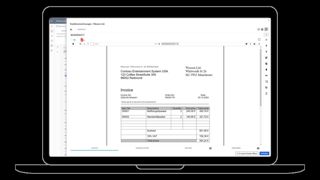 Rechnungsverarbeitung mit Dynamics 365 Finance & Operations