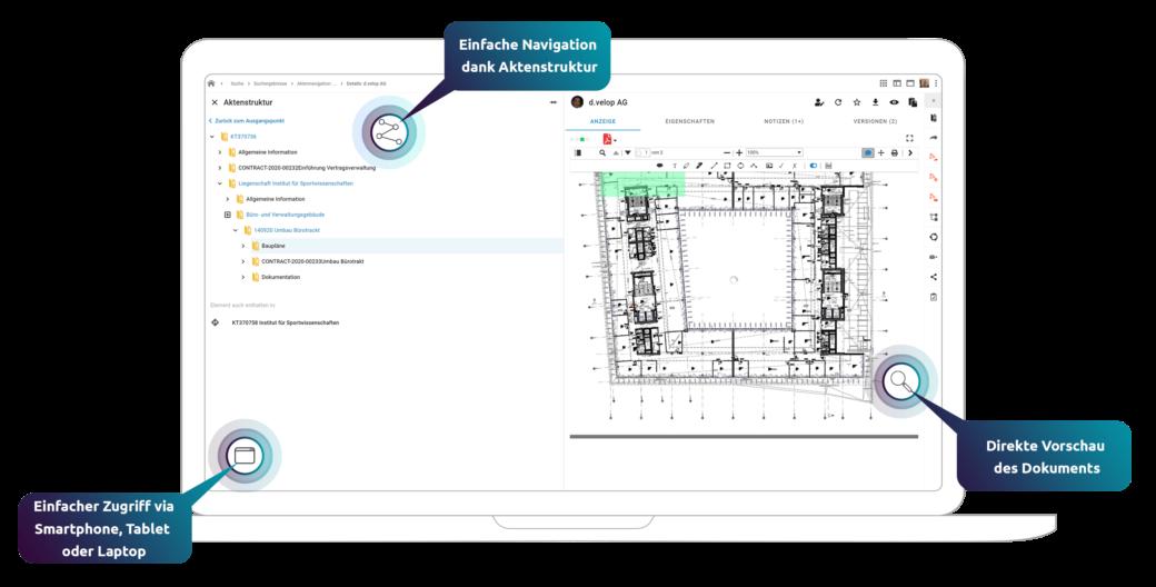 Übersicht der Aktenstruktur und Dokumentenvorschau einer digitalen Projektakte