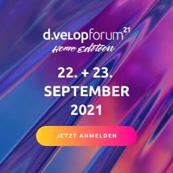 Zum d.velop forum am 22. und 23. September anmelden.